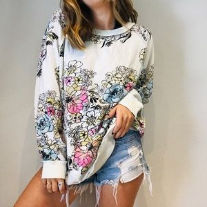 Free People white floral sketch oversized pullover